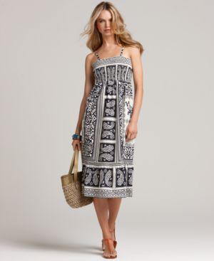 Tommy Hilfiger Dress, Sleeveless Smocked Paisley Sundress
