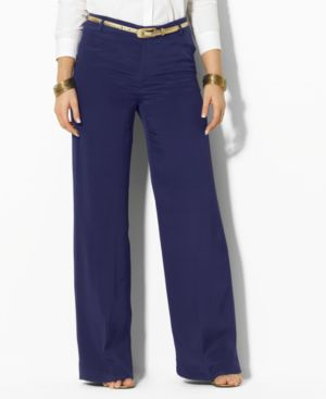 Lauren by Ralph Lauren Plus Size Pants, Tristam Wide Leg Silk - Pants & Shorts