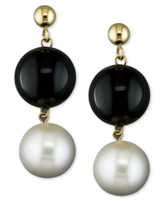 14k Gold Earrings, Cultured Freshwater Pearl and Onyx Drop