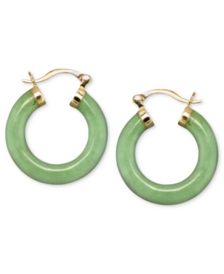 14k Gold Earrings, Jade Hoops