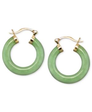 14k Gold Earrings, Jade Hoops