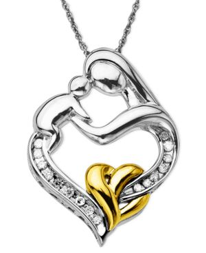 14k Gold and Sterling Silver Pendant, Diamond Mother and Baby (1/10 ct. t.w.)