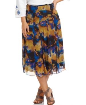 Jones New York Plus Size Skirt, Silk Watercolor Print Georgette