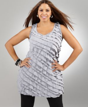 Alfani Plus Size Top, Sleeveless Ruffled Racerback Tunic - Alfani