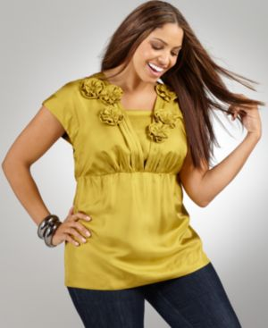 Alfani Plus Size Top, Cap Sleeve with Rosettes