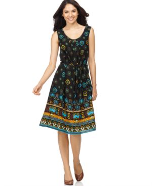 Elementz Dress, Sleeveless Mixed Print Border