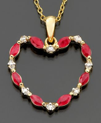 18k Gold over Sterling Silver Pendant, Ruby (5/8 ct. t.w.) and Diamond Accent Heart