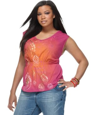 Apple Bottoms Plus Size Top, Sleeveless Indian Print Studded