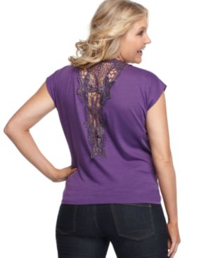 L8ter Plus Size Top, Cap Sleeve Crocheted Back