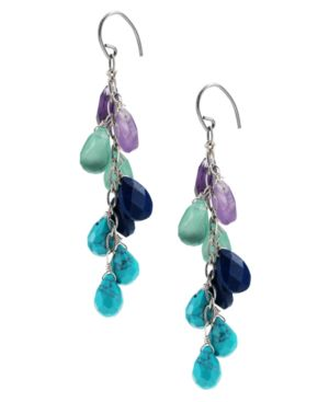 Fossil Earrings, Beaded Drop - Fossil