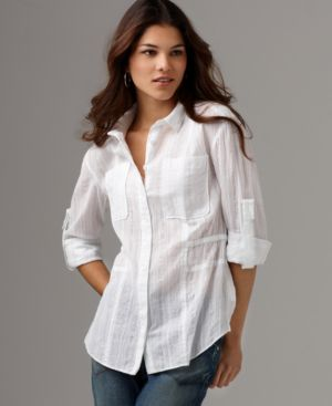 DKNY Jeans Shirt, Metallic Stripe Roll Sleeve Boyfriend