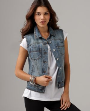DKNY Jeans Vest, Studded Denim