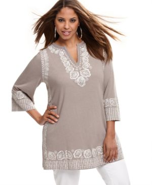 INC International Concepts Plus Size Top, Three Quarter Sleeve Studded Embroidered Tunic