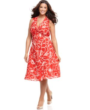 Jones New York Signature Plus Size Dress, Sleeveless Knot Front Floral Print