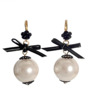 Betsey Johnson Earrings, Glass Pearl Bow