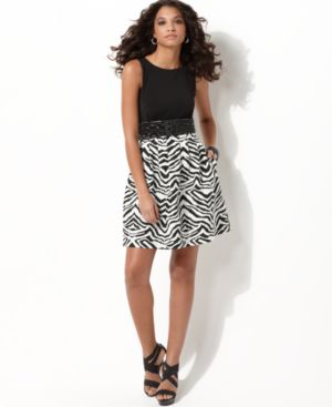 Jessica Simpson Dress, Sleeveless Zebra Skirt with Belt