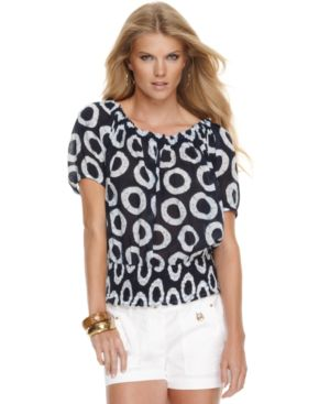 MICHAEL Michael Kors Top, Short Sleeve Smocked Circle Print
