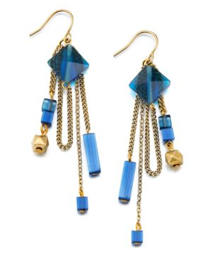 Kenneth Cole New York Earrings, Blue and Goldtone Dangle