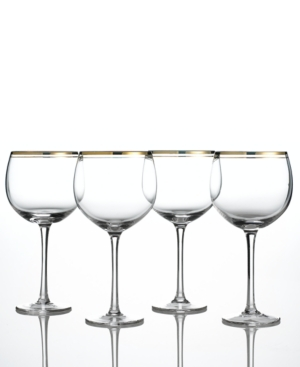 Charter Club Balloon Glasses, Set of 4 Gold Double Band