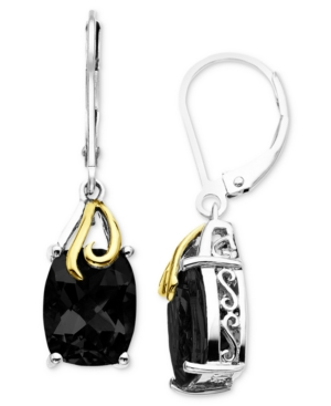 14k Gold and Sterling Silver Earrings, Onyx
