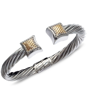 14k Gold and Sterling Silver Bangle, Square Cable
