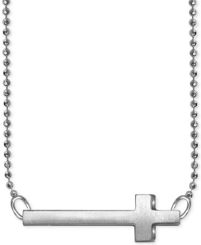 Alex Woo - Side Cross Beaded Pendant Necklace in Sterling Silver