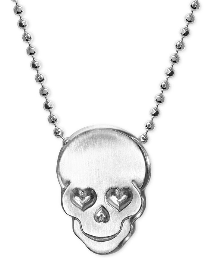 Alex Woo - Love Skull Beaded Pendant Necklace in Sterling Silver