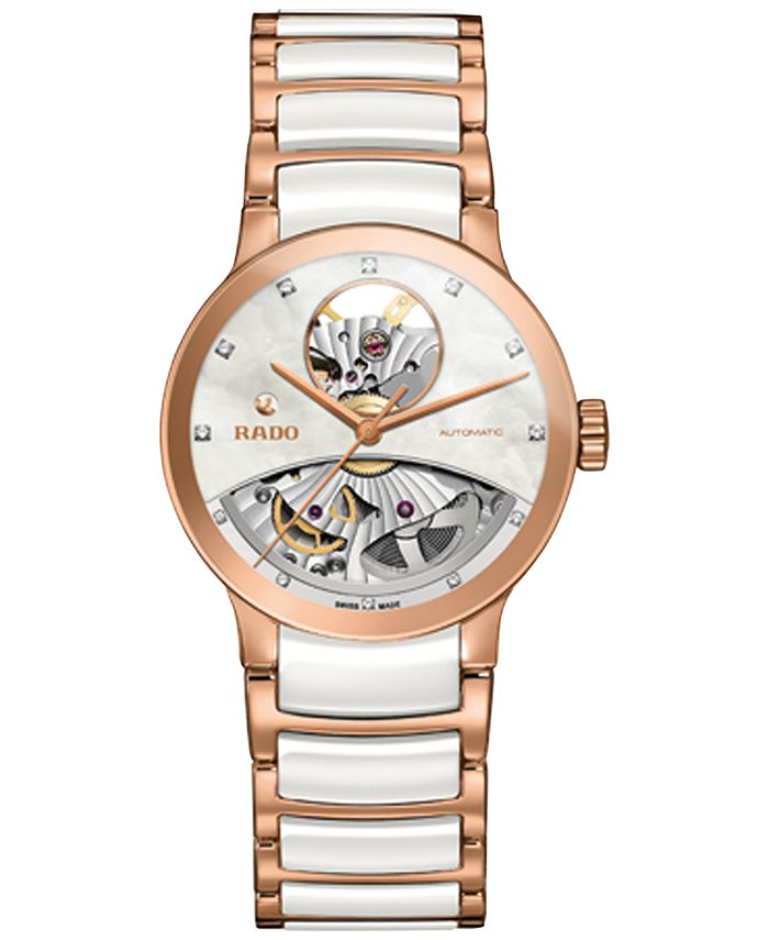 Rado - Women's Swiss Automatic Centrix Diamond Accent Rose Gold-Tone PVD Stainless Steel and White Ceramic Bracelet Watch 33mm R30248902