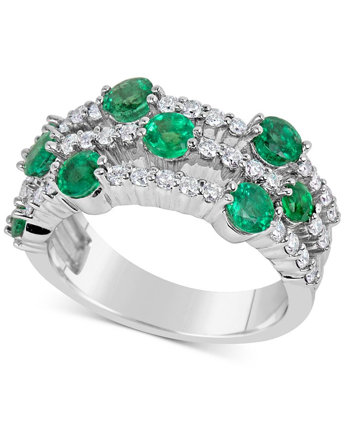 Macy's - Emerald (1-3/4 ct. t.w.) and Diamond (5/8 ct. t.w.) Ring in 14k White Gold