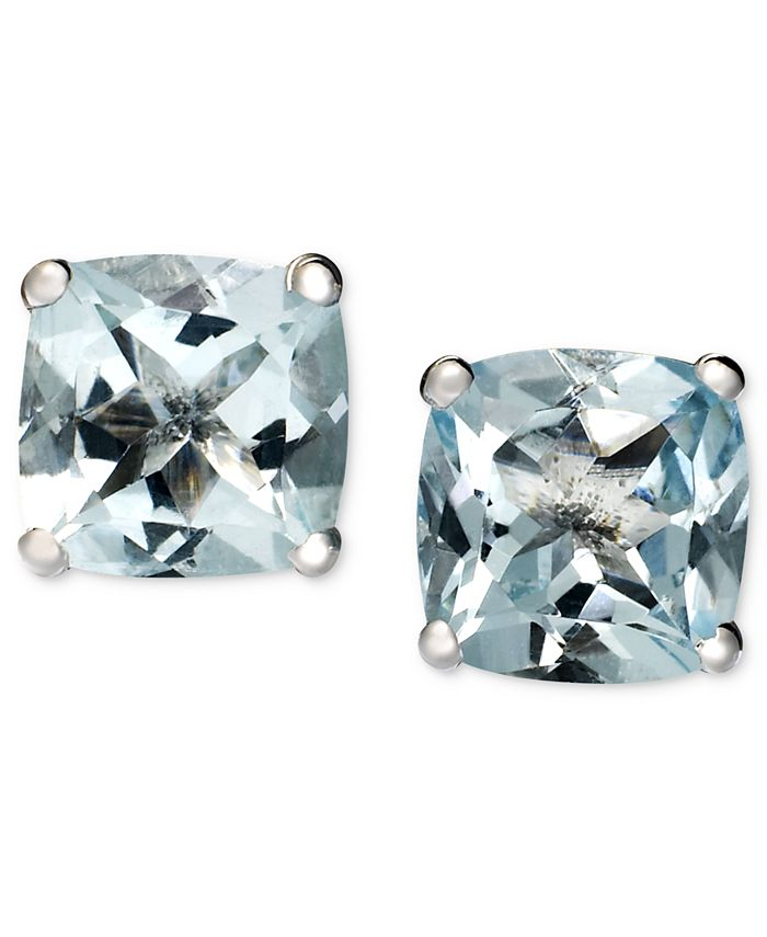 Macy's - 14k White Gold Earrings, Aquamarine Cushion Studs (1-5/8 ct. t.w.)