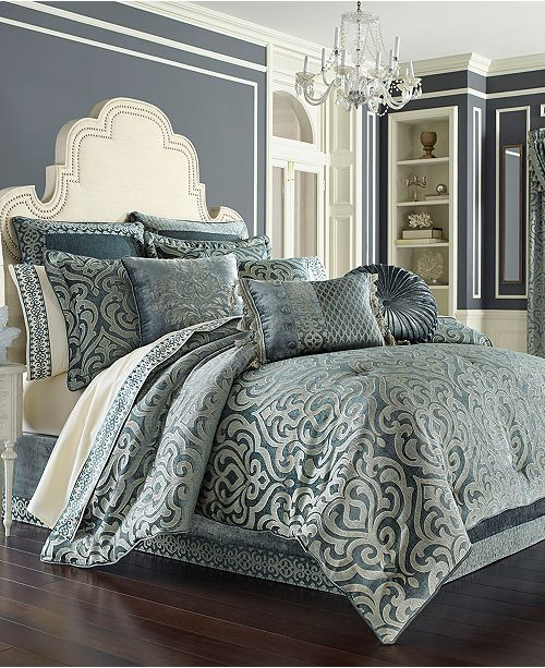 Pc New York Sicily Teal Queen, Grey And Teal Bedding