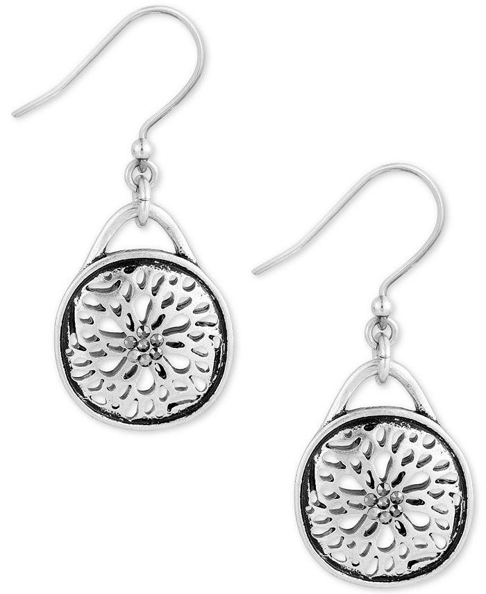 Lucky Brand - Silver-Tone Disc Drop Earrings