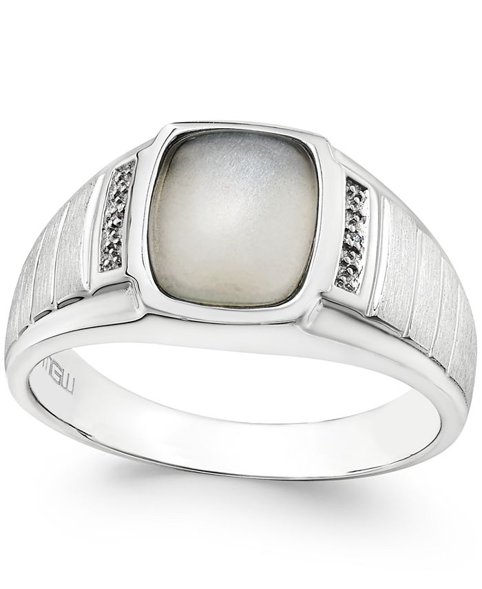 Macy's - Men's Moonstone (10 x 8mm) and Diamond Accent Ring in Sterling Silver