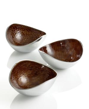 Simply Designz Serveware, Set of 3 Amber Nut Bowls