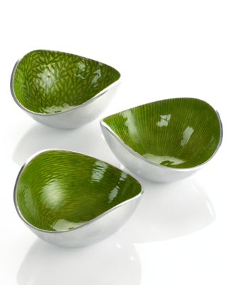 Simply Designz Serveware, Set of 3 Organic Lemongrass Nut Bowls
