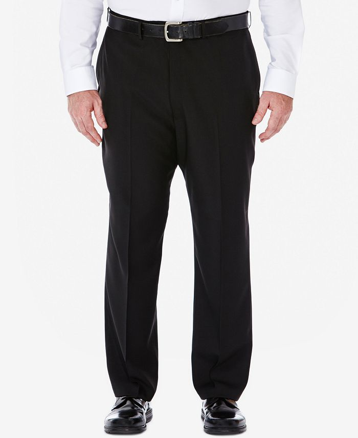 Haggar - Men's Big & Tall Stria Classic-Fit ECLO Double Pleated Dress Pants