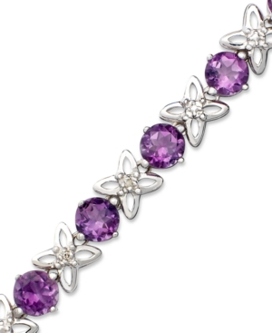 Sterling Silver Bracelet, Amethyst (6-1/4 ct. t.w.) and Diamond Accent