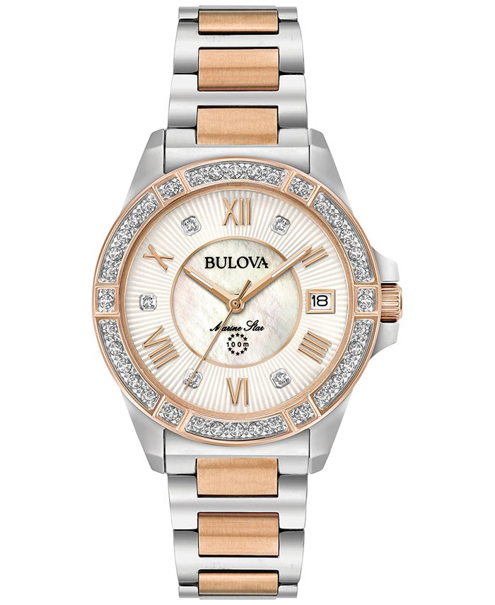 Bulova - Women's Diamond Accent Marine Star Two-Tone Stainless Steel Bracelet Watch 32mm 98R234