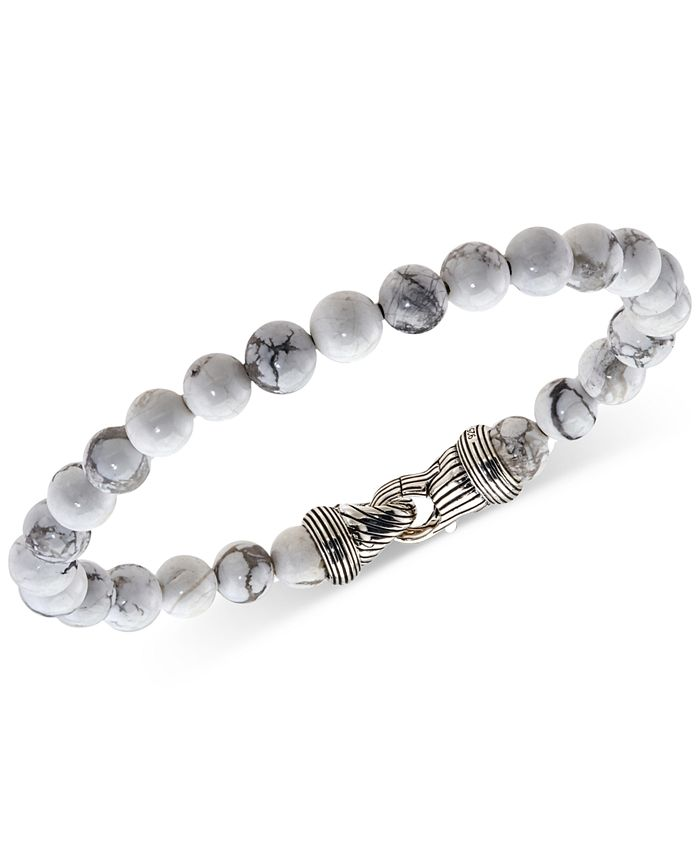 Esquire Men's Jewelry - Howlite (8mm) Beaded Bracelet in Sterling Silver