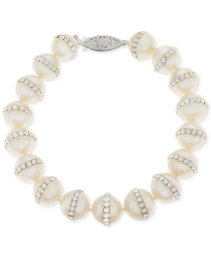 Macy's Cultured Freshwater Pearl (9.5mm) and Crystal Bracelet & Reviews - Bracelets - Jewelry & Watches - Macy's
