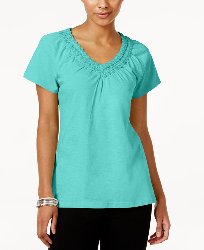 JM Collection - Cotton Crochet-Trim Top