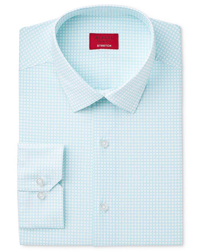 Alfani - Men's Slim-Fit Stretch Teal Bubble Print Dress Shirt, Only at Macy's