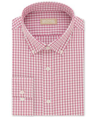 Michael Kors Mens Classic/Regular Fit Non-Iron Pink Check Dress Shirt