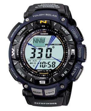 Discount clothing stores Casio Men's Digital Pathfinder Black Cloth Strap Watch PAG240B-2