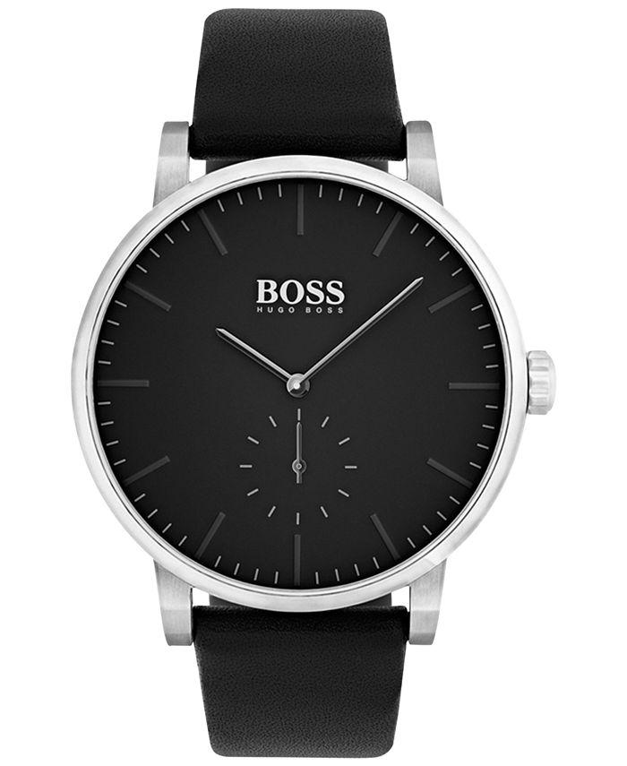 BOSS - Men's Essence Black Leather Strap Watch 42mm 1513500