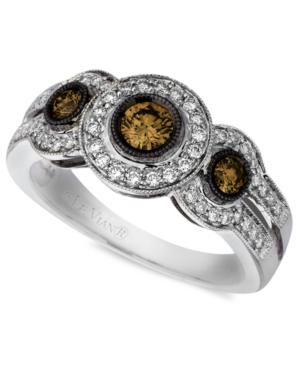 Le Vian Diamond Ring, 14k White Gold Chocolate Diamond White Diamond Three Stone (3/4 ct. t.w.)