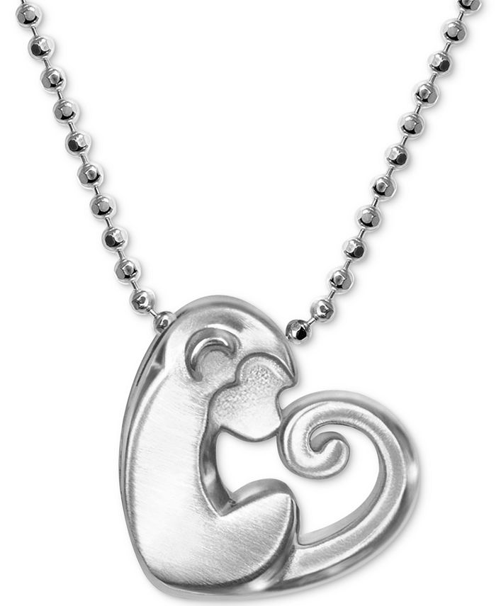 "Alex Woo - Little Activist Love Monkey Charm 16"" Pendant Necklace in Sterling Silver"
