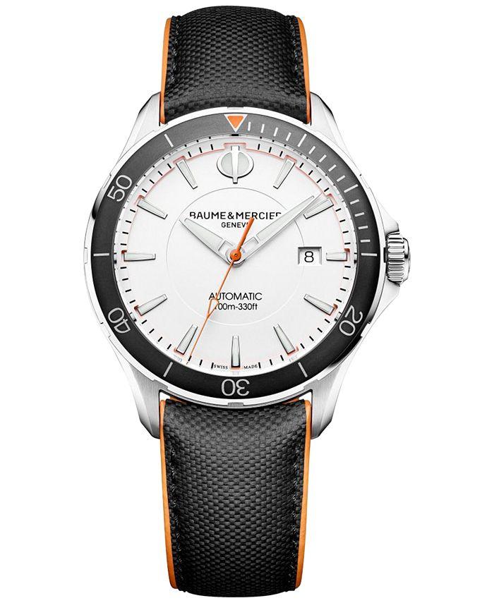 Baume & Mercier - Men's Swiss Automatic Clifton Club Black Leather Strap Watch 42mm M0A10337