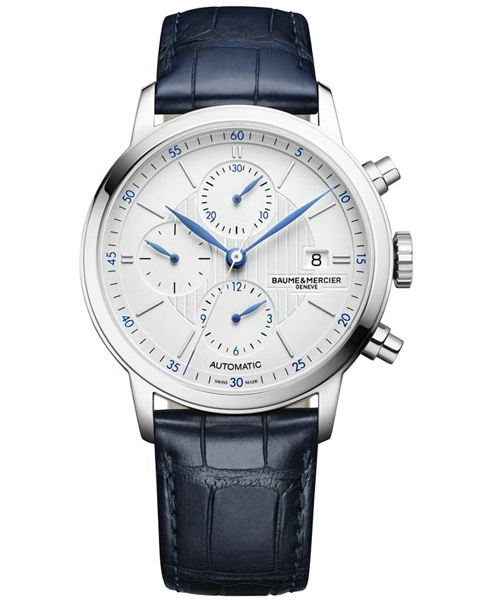 Baume & Mercier - Men's Swiss Automatic Classima Blue Alligator Leather Strap Watch 42mm M0A10330