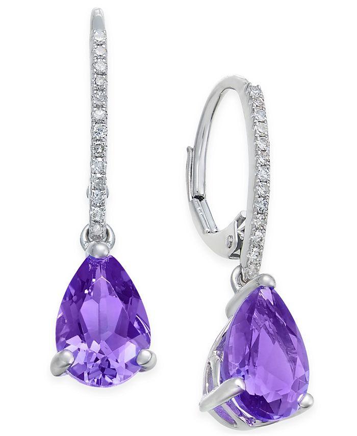 Macy's - Amethyst (2 ct. t.w.) and Diamond (1/10 ct. t.w.) Drop Earrings in 14k White Gold